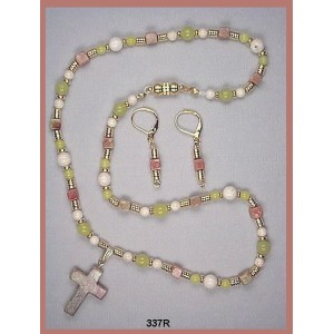 "Necklace Set of ""Oliver"" Quartz Interspersed with Riverstone Agate Rounds, ""Pink"" Jasper Cubes and Matching Cross Pendant"
