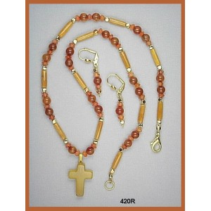 Necklace Set of Yellow Jade Tubes, Carnelian Rounds and Lentil Beads, Agate Cross Pendant.
