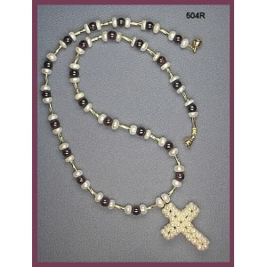 Necklace Set is made with Freshwater Pearls, 5mm Garnet Rounds, & Pearl Cross Pendant.