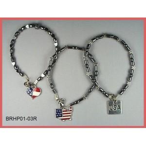 Patriotic Hematite Bracelet Set