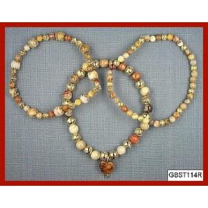 All Crazy Lace Agate, Goldtone (Triad Bracelet Set)