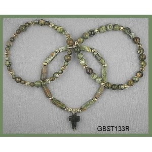 Made entirely from Rhyolite, a type of Jasper, One has a Moss Agate cross, (Triad Bracelet Set)