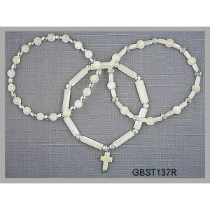 All Bleached Mother-of-Pearl, Silvertone (Triad Bracelet Set)