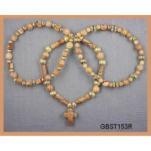 All Picture Jasper with Picasso cross, Goldtone (Triad Bracelet Set)