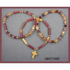 All Moukaite with Tiger Jasper cross, (Triad Bracelet Set)
