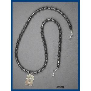"""Metallic (""""Love Cross Medallion"""") Pendant """"Christian Hematite Choker"""""""