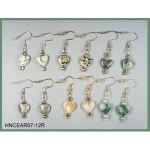 Stone Heart Pierced Earring Sets